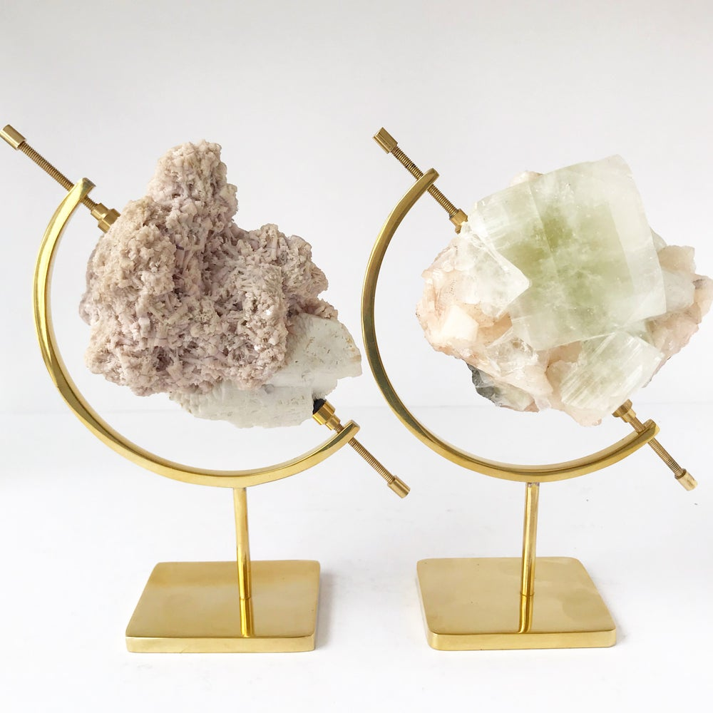 Image of Lepidolite no.11 Sea Siren Collection Brass Pairing