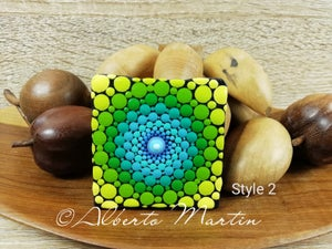 Image of Magnetic painted canvas Mandala. Mandala mini canvas fridge magnet by Alberto Martin