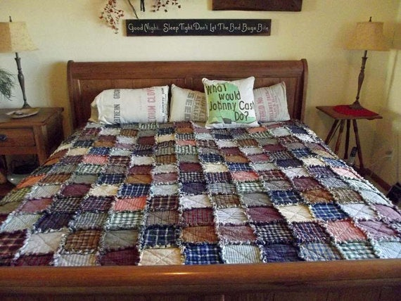 Image of Twin Size Country Rag Quilt - Made To Order