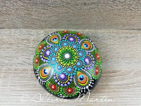 Image of Mandala Stone by Mandalaole- Peacok inspired- DotArt - Dotillism