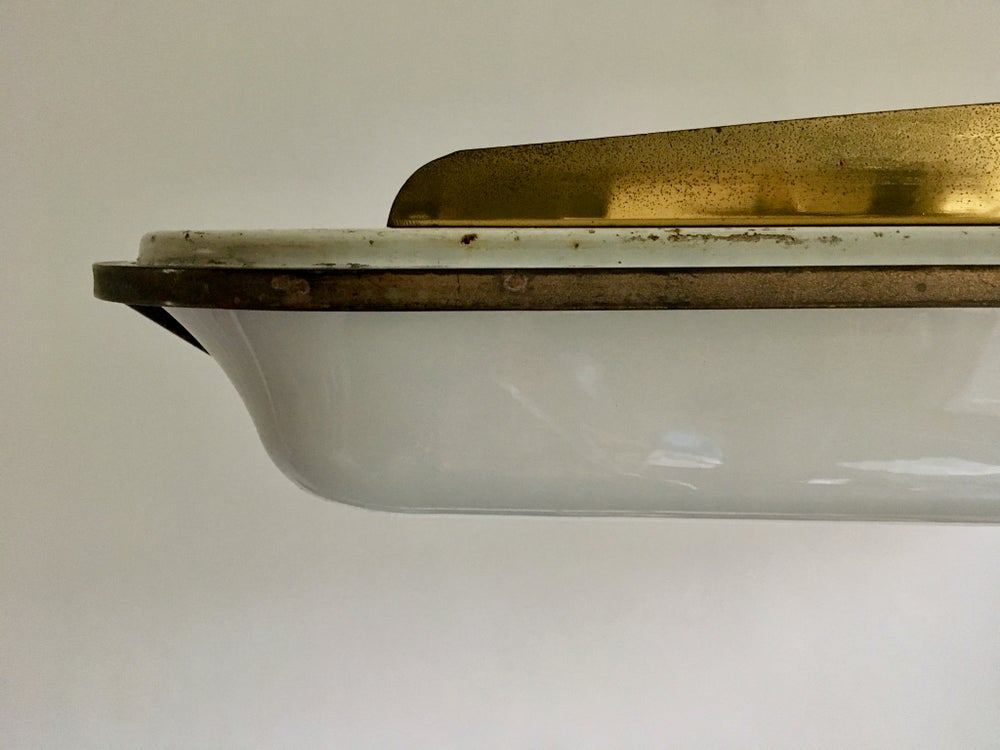 Image of Italian Pendant Light with Moulded Acrylic Shade, 1950s