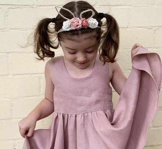 Image of Dusty pink linen Savannah dress