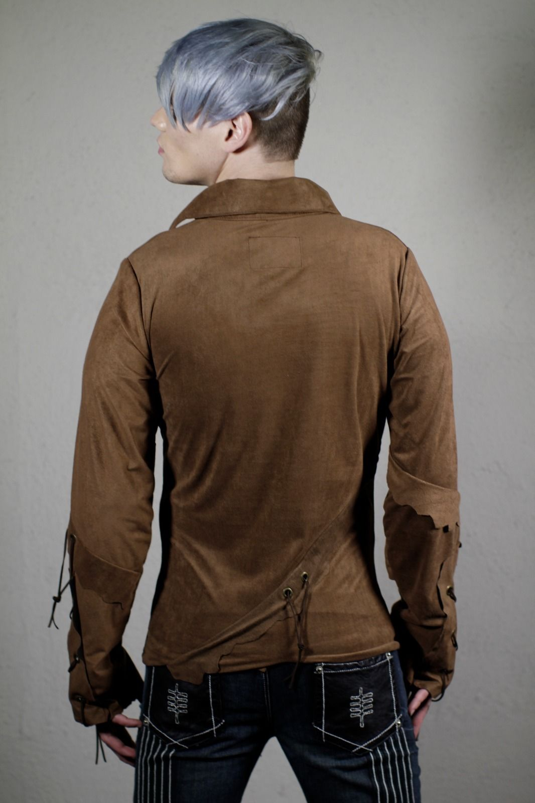 Image of Brown Funky Suede Shirt