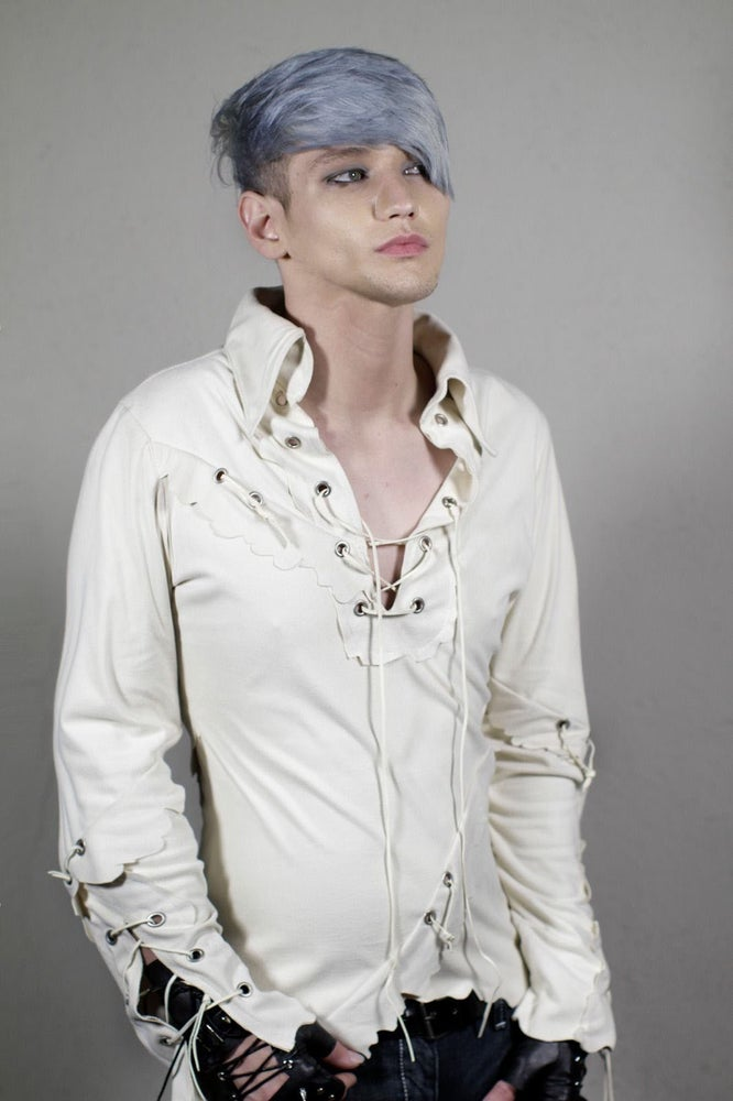 Image of White Funky Suede Shirt