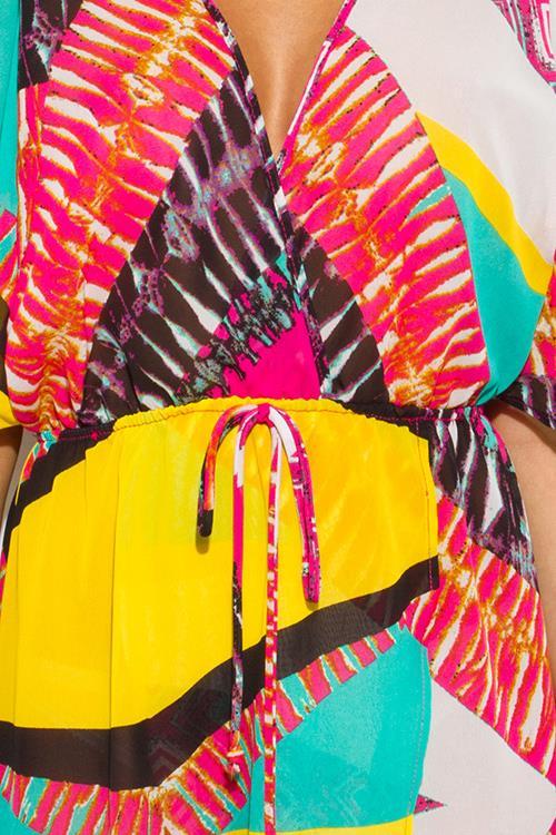 Image of Multicolored Print Sheer Maxi Dress