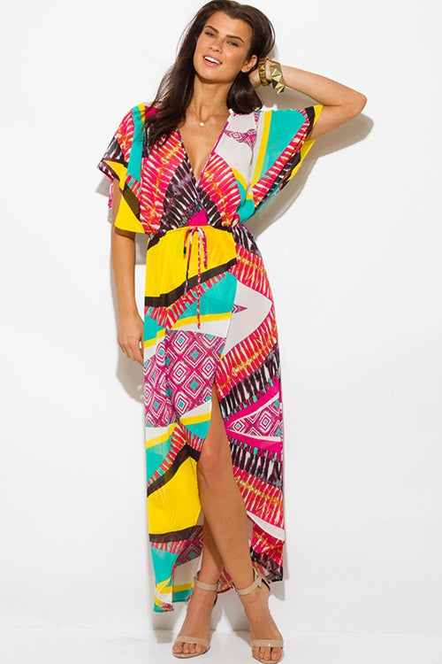 Image of Multicolored Print Sheer Maxi Dress
