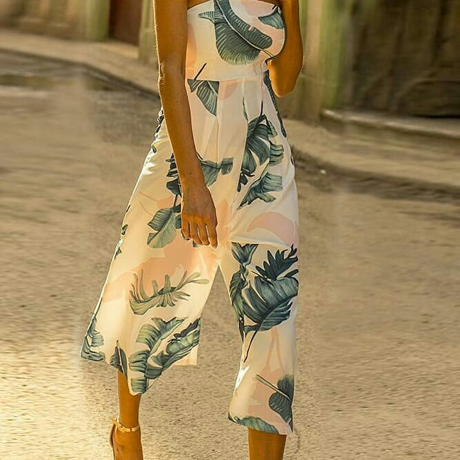 Image of White Printed Jumpsuit