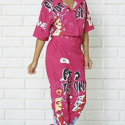 Image of  Fuchsia Printed Jumpsuit