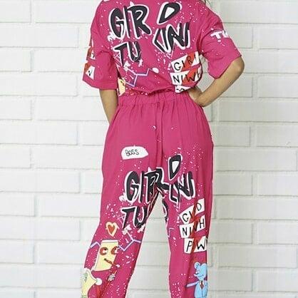 Image of  Fuchsia Printed Jumpsuit