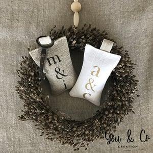 Image of Porte-clés lin naturel personnalisable