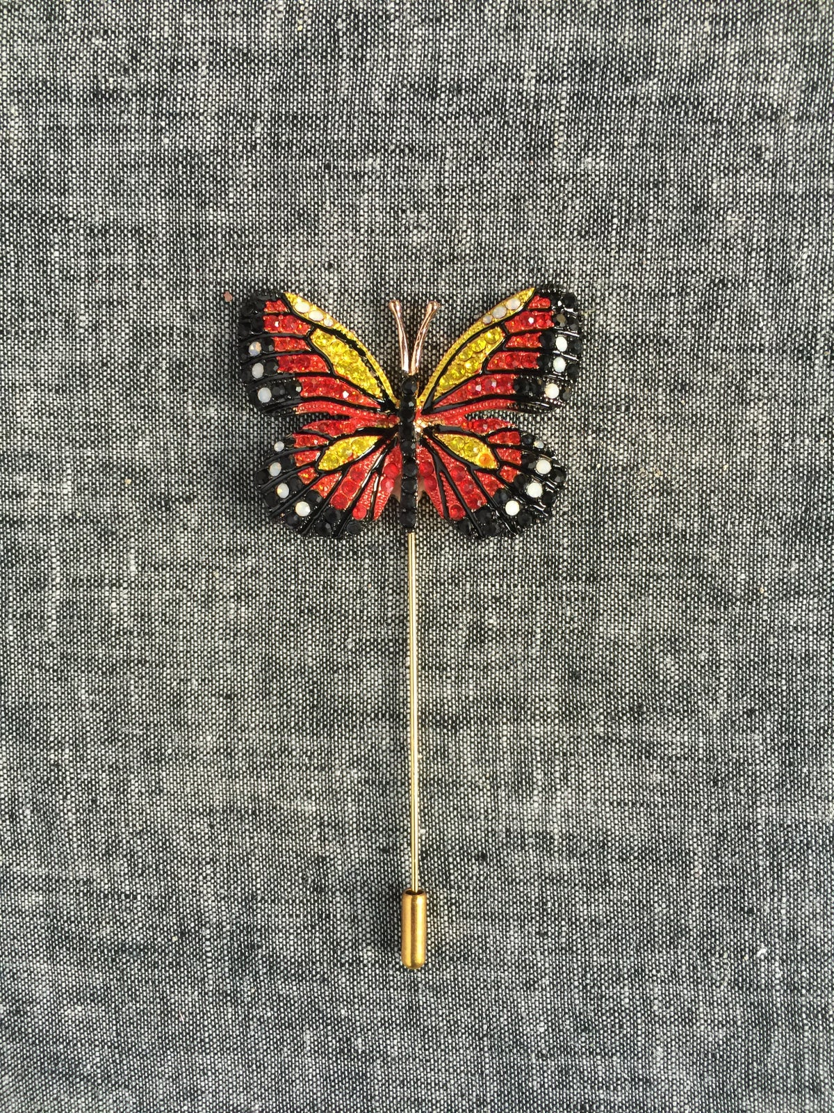 Image of Butterfly Lapel Pin (Red, Yellow, Black)