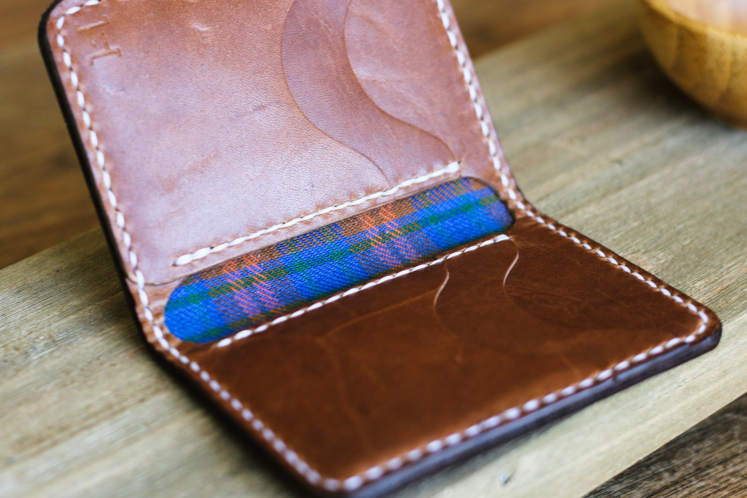 Image of Vertical Bifold Wallet in Horween Natural Dublin and Natural Chromexcel
