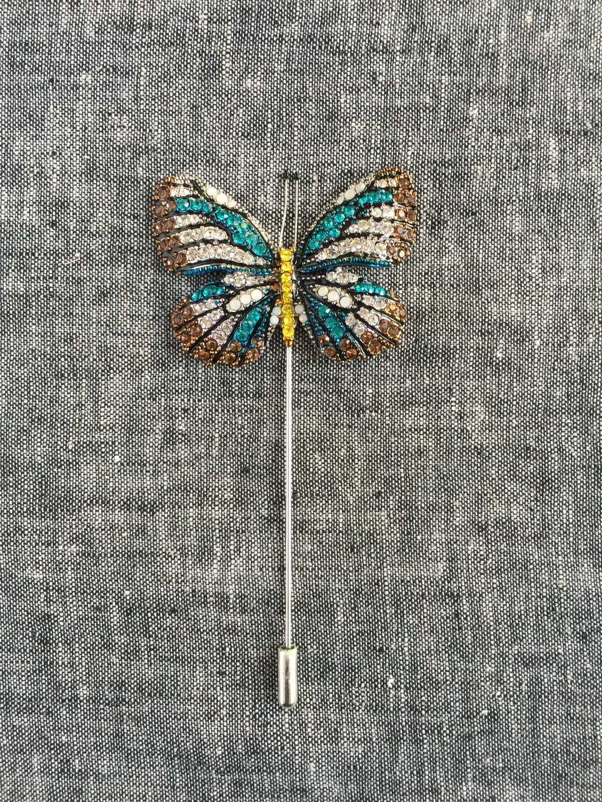 Image of Butterfly Lapel Pin (Brown, White, Teal)