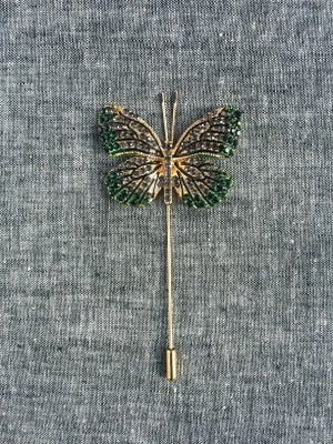 Image of Butterfly Lapel Pin (Hunter Green, Gray, Gold)