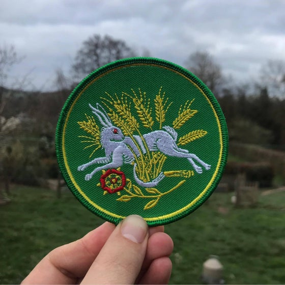 Image of Hare In The Wheat embroidered  patch.