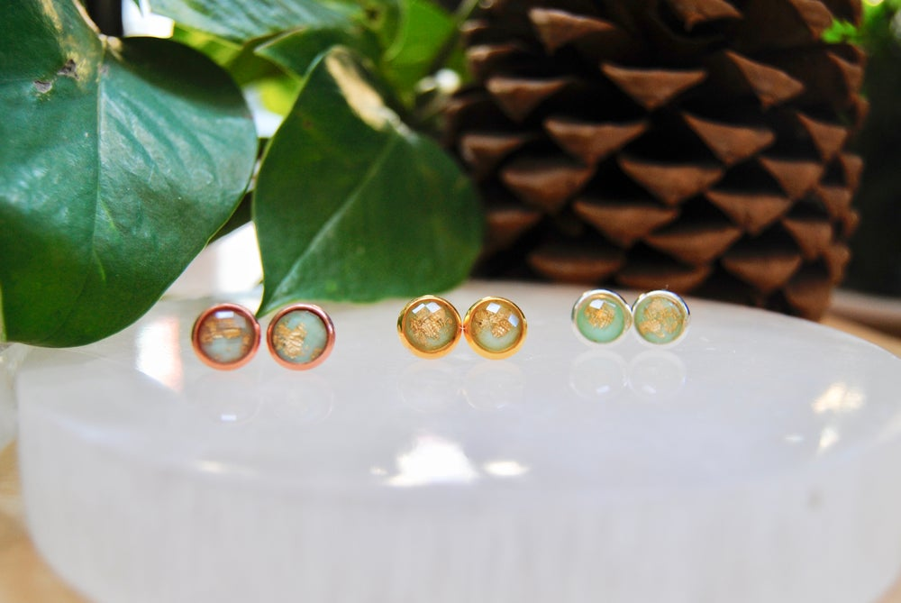Image of Green resin stud earrings