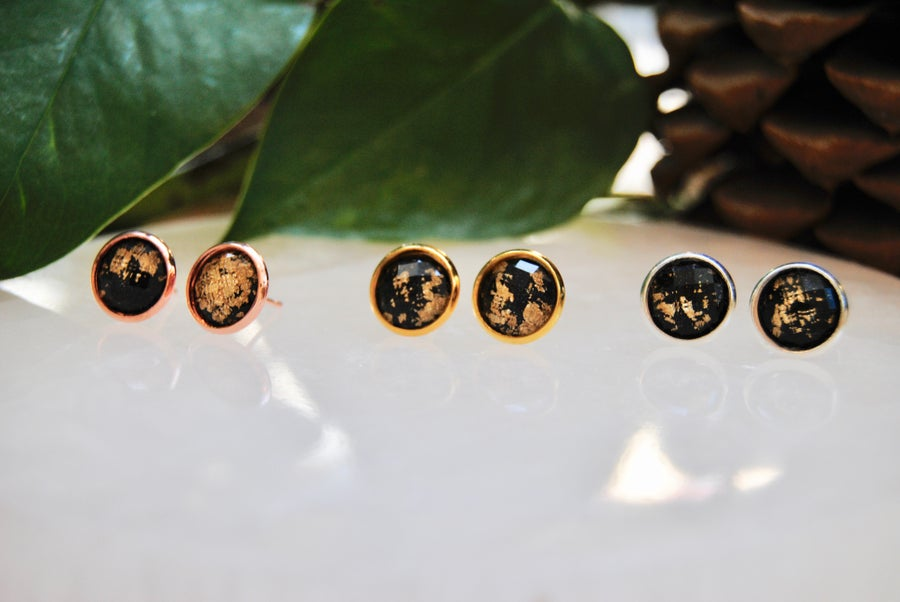 Image of Black resin stud earrings