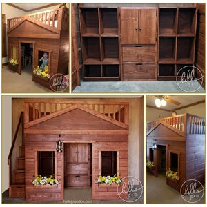 Image of Rustic Solid Wood Playhouse Bed