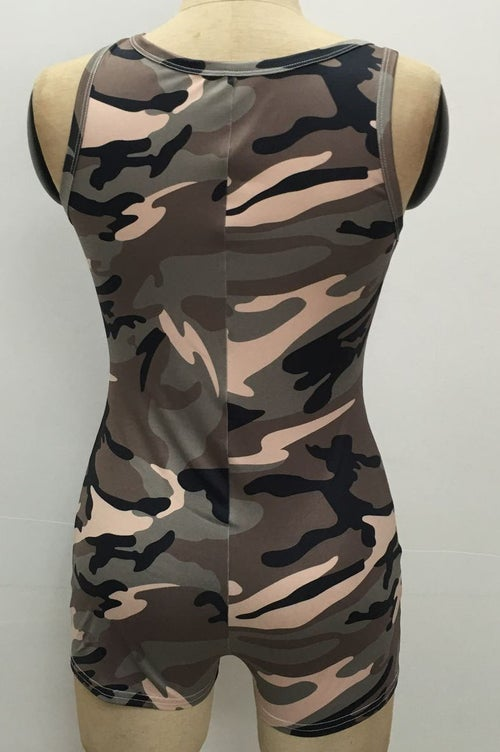 Image of Olive &Pink Camo Rompers