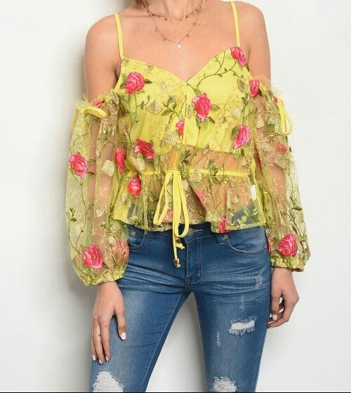 Image of Lime Rose Embellished Halter