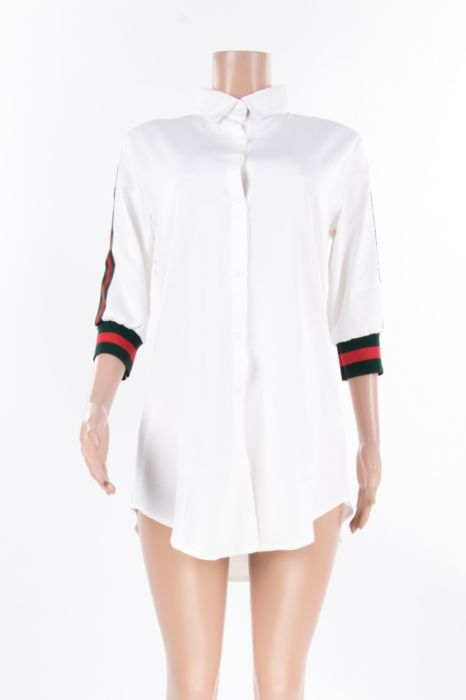 Image of White Button up T shirt Dress