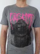 "Image of Finisterre ""Gorilla"" T-Shirt, slub heather steel grey, black and pink print"