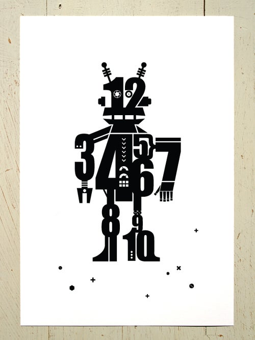 Image of Numbot (robot) A3 art prints