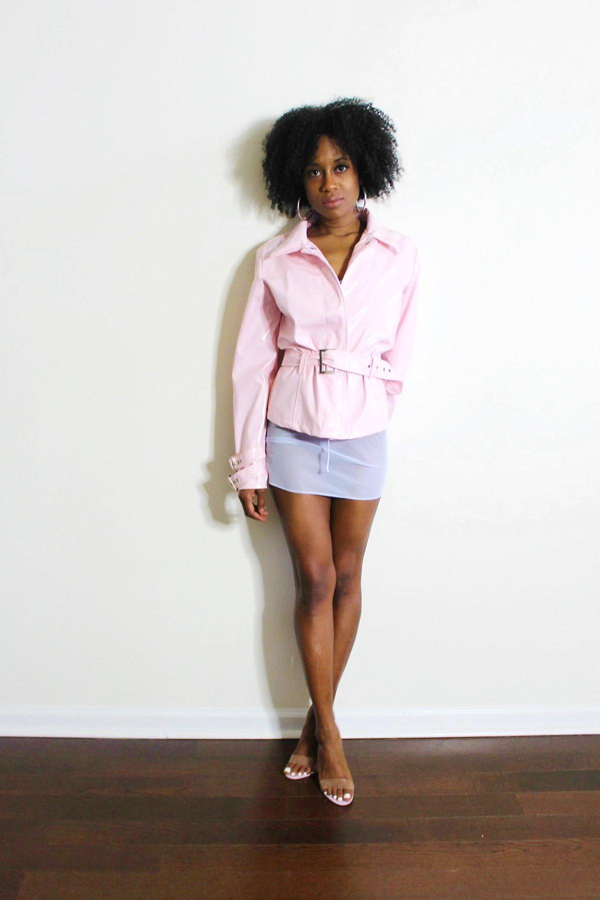 Image of Vintage Pink Belted Patent Raincoat