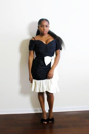 Image of 80s Vintage Black and White Cocktail Dress