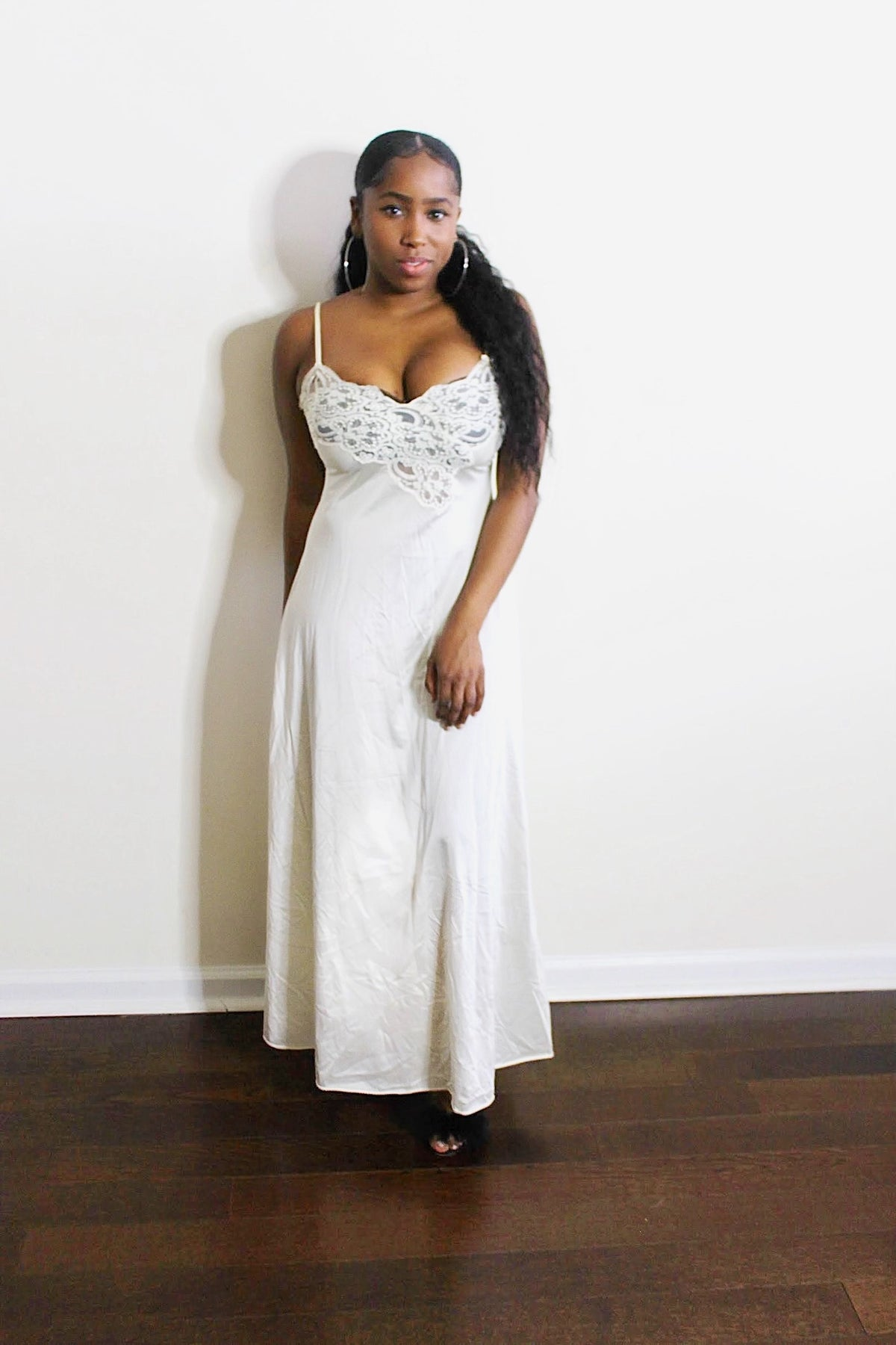 Image of Vintage White Lace Slip Dress
