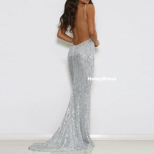 Image of Brilliant Silver Sequins Deep V-Neck Spaghetti Strap Mermaid Long Prom Dress Formal Evening Gown