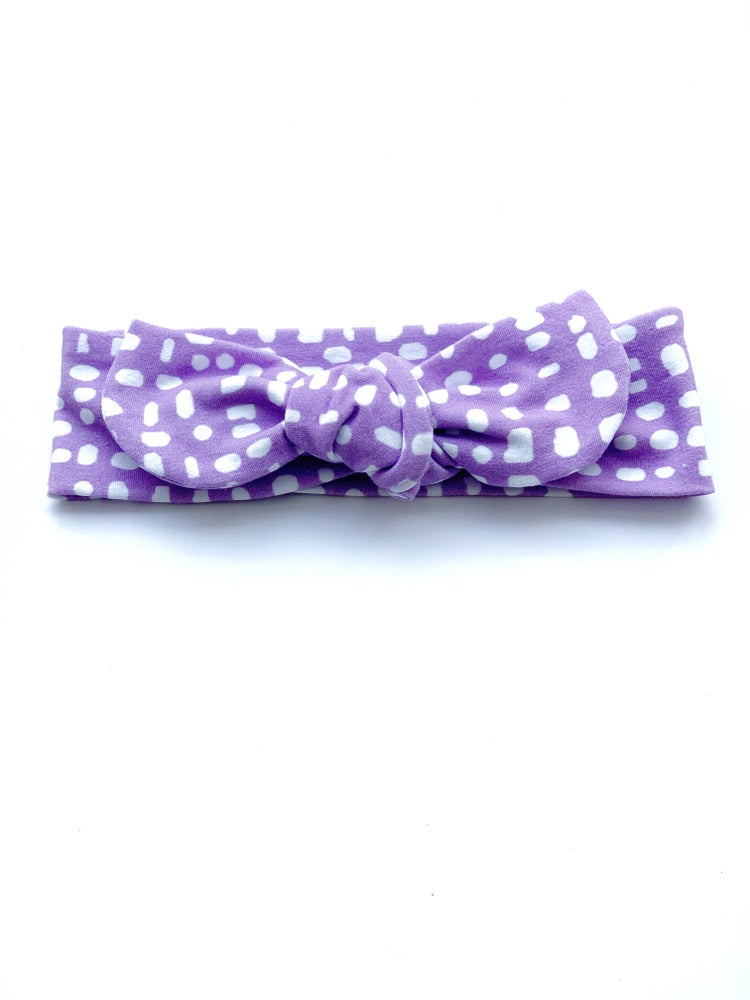 Image of Dot topknots (mustard/navy/white/butterscotch and purple)