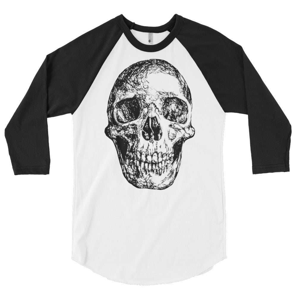 Image of Skull Raglan - White/Black