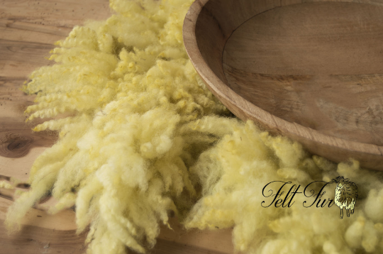 Image of Newborn Baby Photo Prop. Organically Felted Piece. (SP9) Yellow, Pastel Yellow Basket Filler, Fluffy