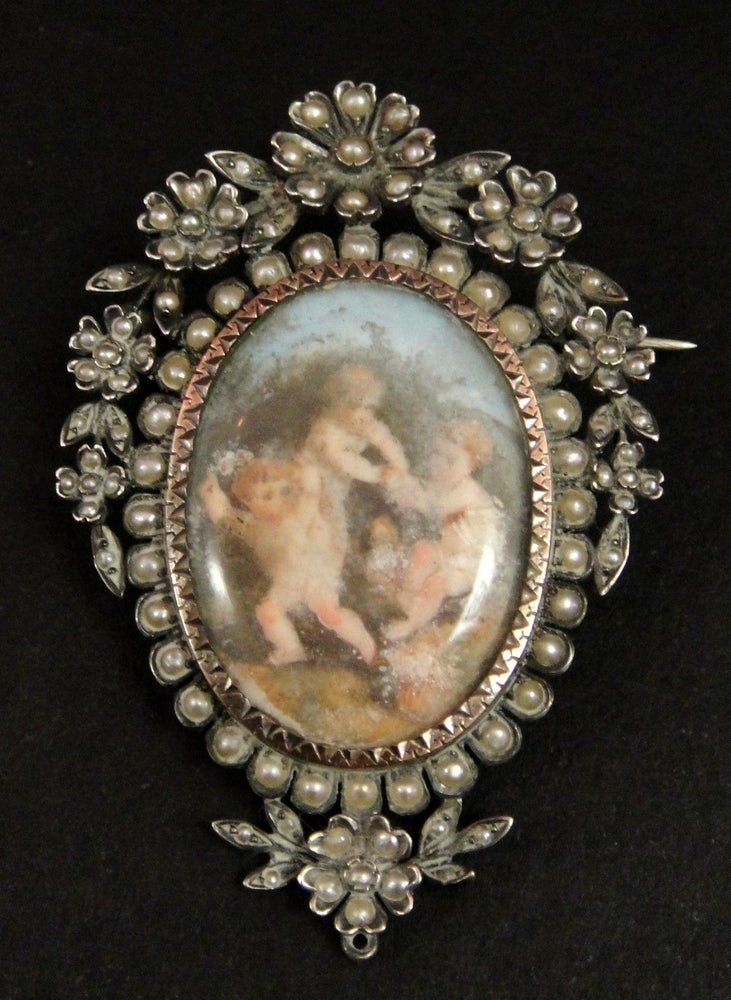 Image of Important médaillon porte photo en argent or et perles peinture miniature XIXeme