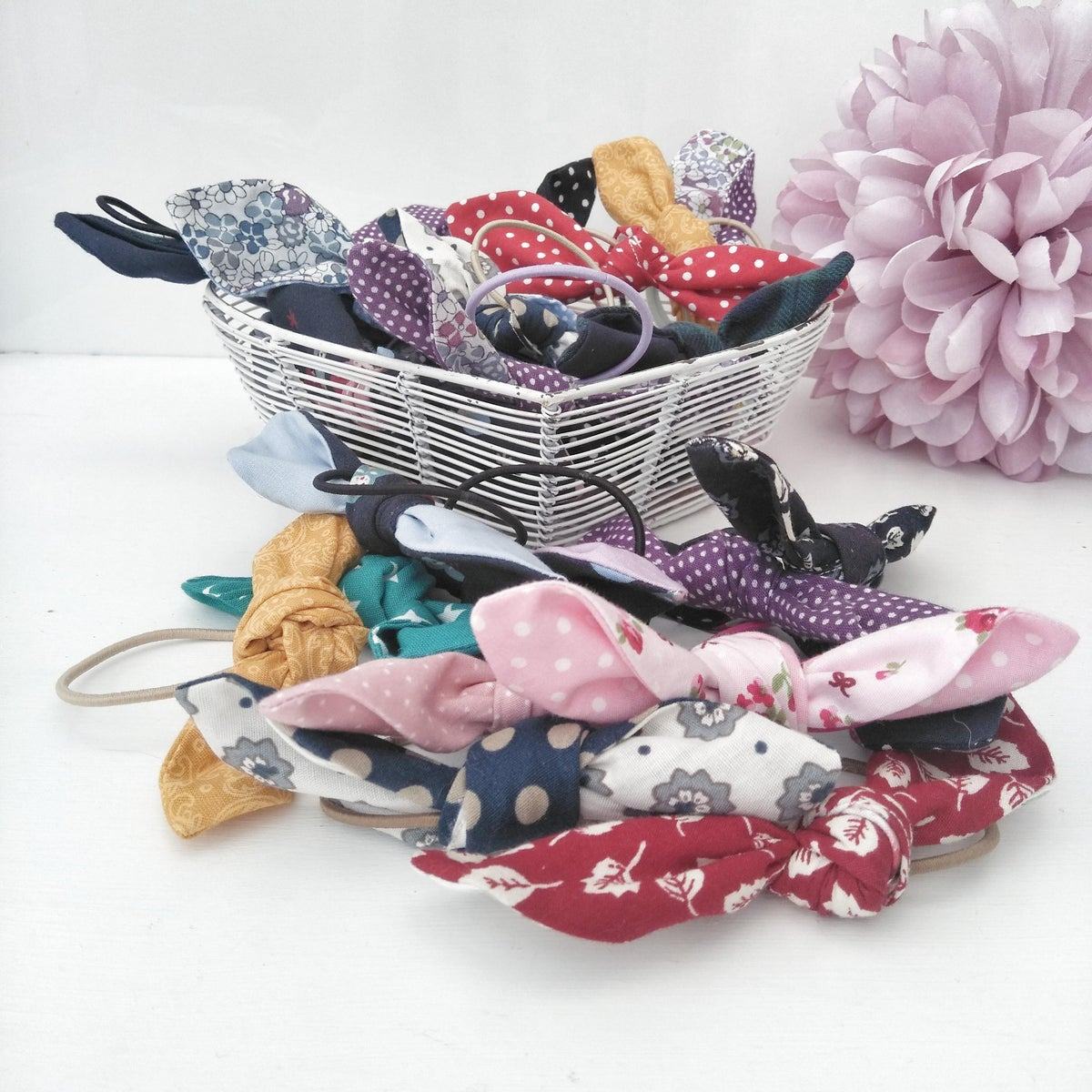 Image of Hand Knotted Hair Bows (Set Of Three)
