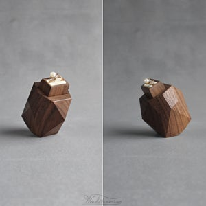 Image of Symmetrical faceted wood ring box - engagement ring box by Woodstorming - ready to ship