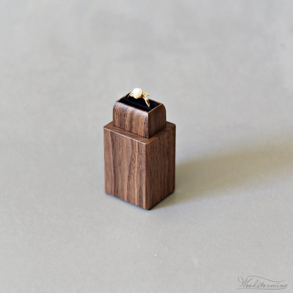 Image of Wood engagement ring box - proposal ring holder - minimalist ring display
