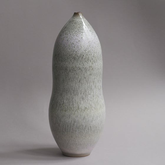 Image of LARGE UNIKA VASE IN DARK STONEWARE WITH FORREST WHITE GLAZE