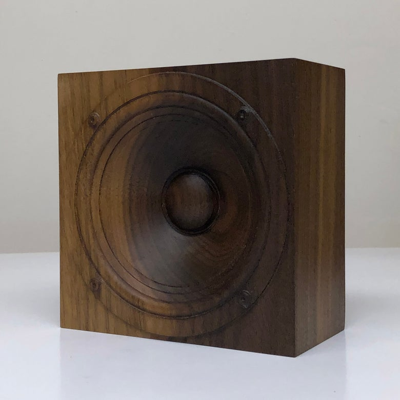 "Image of Wooden speaker sculpture, ""Walnut 3"""