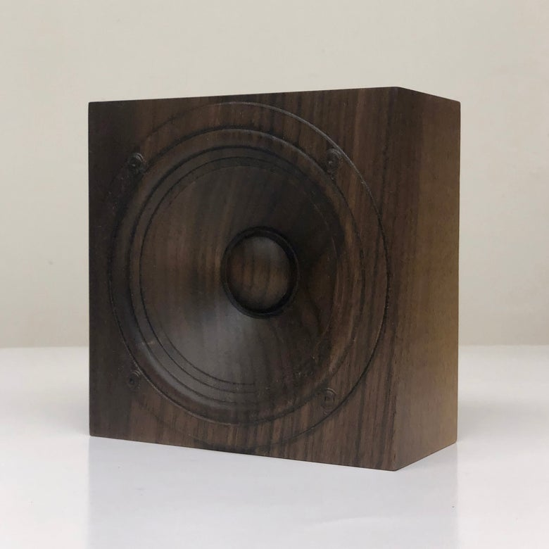 "Image of Wooden speaker sculpture, ""Walnut 2"""