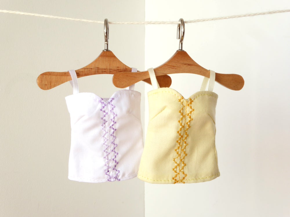Image of Embroidered strap blouse with sweetheart neckline for Poppy Parker or Barbie (see description)