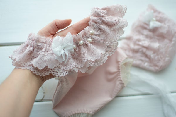 Image of Alessia pink romper or bonnet / two sizes