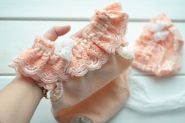 Image of Alessia peach romper or bonnet / two sizes