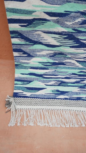 Image of Moroccan Kilim Rug - Flatweave and Zanfi Blue and Turquoise
