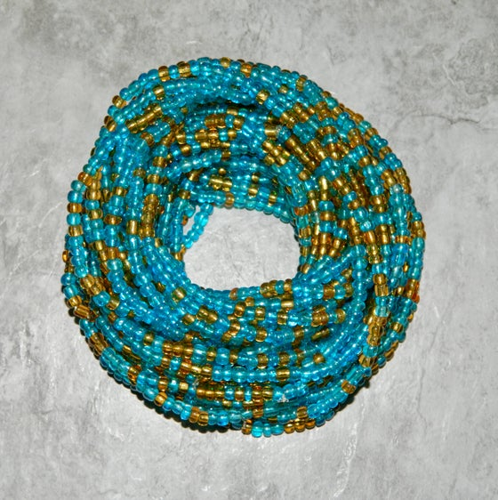 Image of Elastic Turquoise and Gold Waistbead