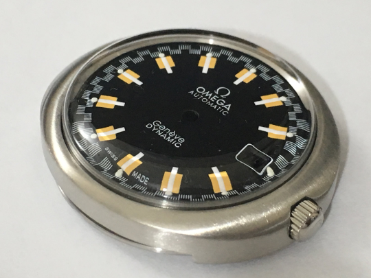 Image of OMEGA GENEVE DYNAMIC (BLACK RACER DIAL) AUTO GENTS COMPLETE WATCH CASE.NEW.