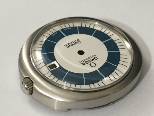 Image of OMEGA GENEVE DYNAMIC (WHITE AND BLUE DIAL) AUTO GENTS COMPLETE WATCH CASE.MINT