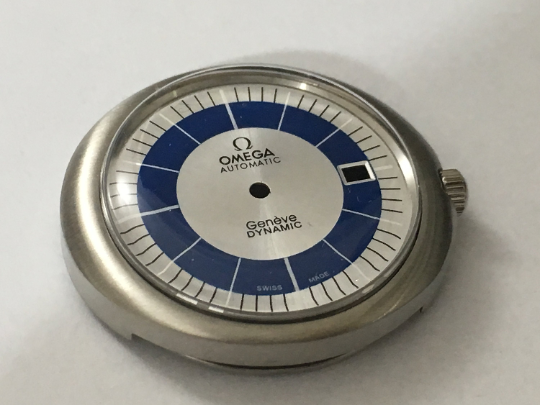 Image of OMEGA GENEVE DYNAMIC (SILVER AND BLUE DIAL) AUTO GENTS COMPLETE WATCH CASE.MINT