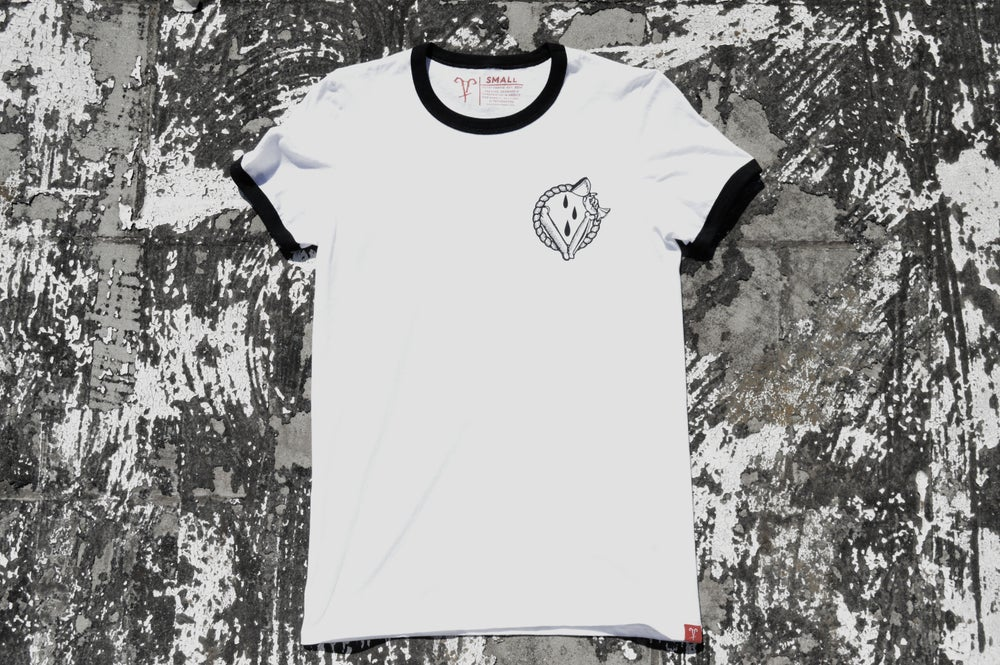 "Image of ""In Vino Veritas"" White Ringer T-Shirt"